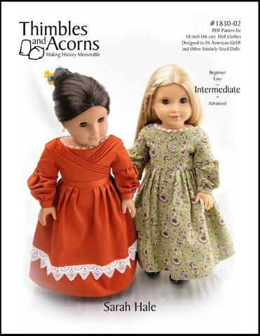 Thimbles and Acorns 1830's Sarah Hale Dress Doll Clothes Pattern 18 inch dolls such as American Girl® | Pixie Faire