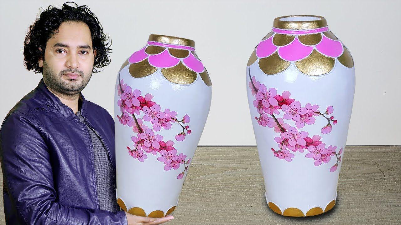 Big Size Paper Flower Vase Cement Flower Vase Corner Flower Vase Youtube Paper Flower Vase Flower Vase Diy Paper Vase