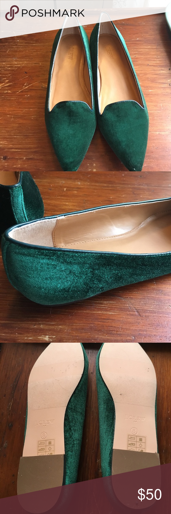 J Crew Velvet Pointed Flats These are gorgeous green velvet flats from J. Crew. The pointed design means that these do run narrow. J. Crew Shoes Flats & Loafers