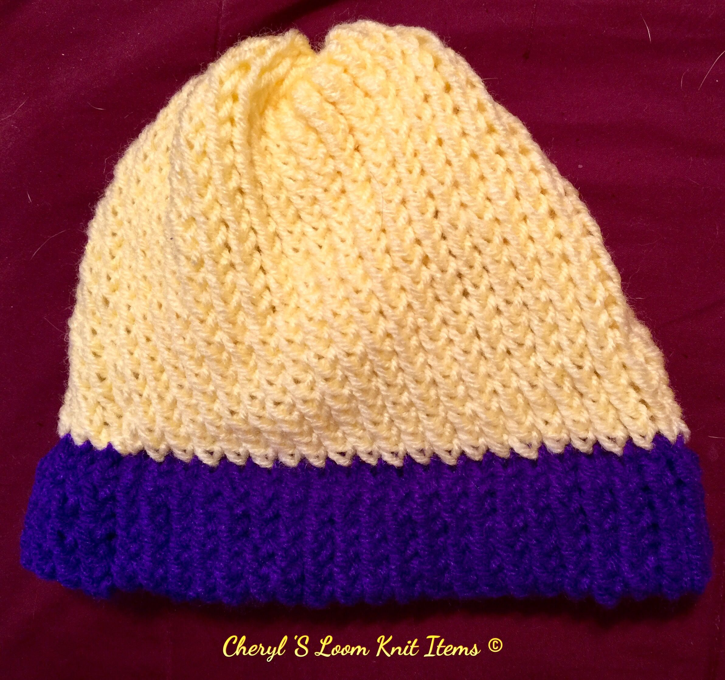 Loom Knit Childs Hat Loomed On The Medium Boye Light Weight Yarn