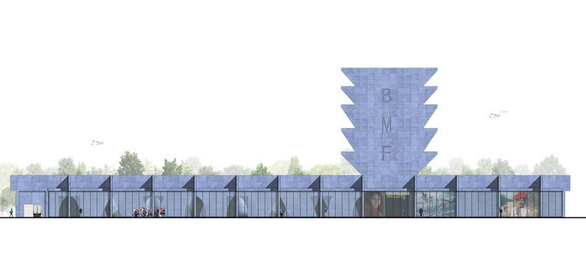 Competition Entry Proposes Colorful Duo of Museums for Budapest,Photography Museum Elevation. Image © IaN+