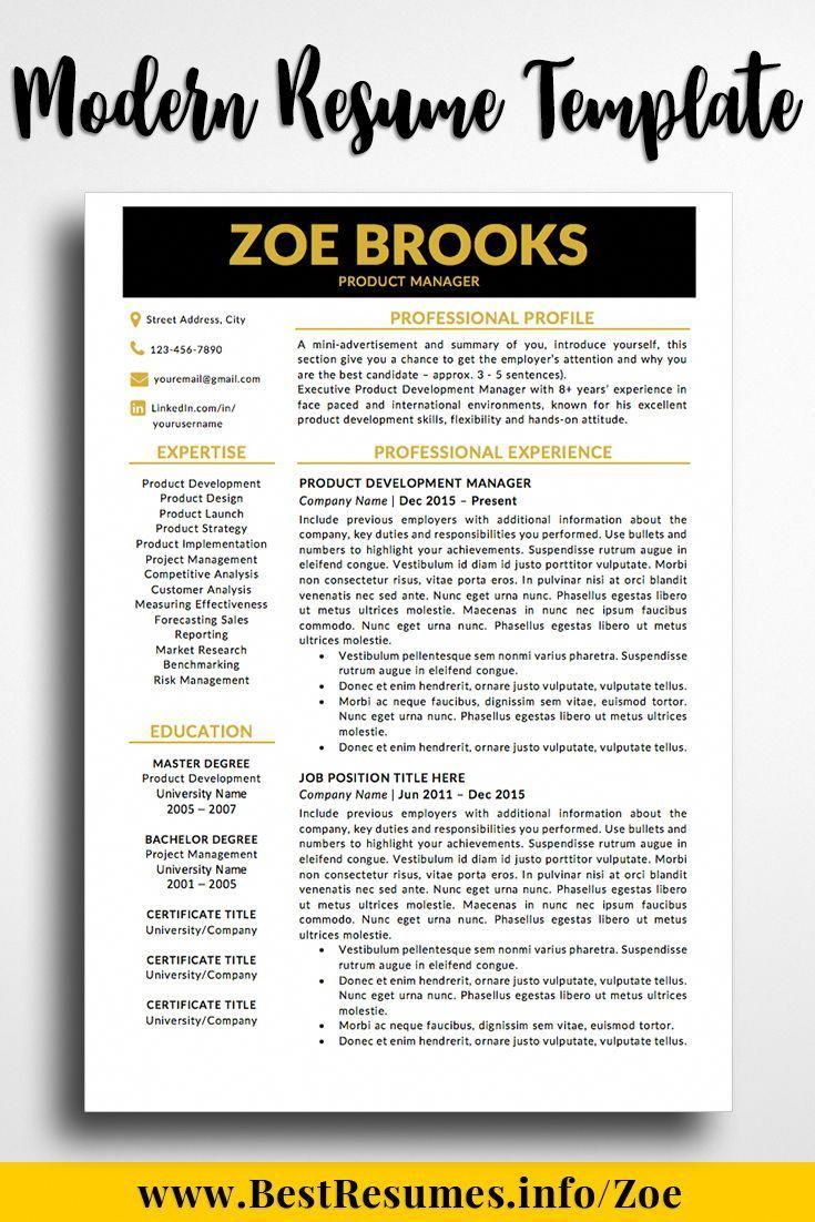 Modern resume design template for Word, two page resume template and