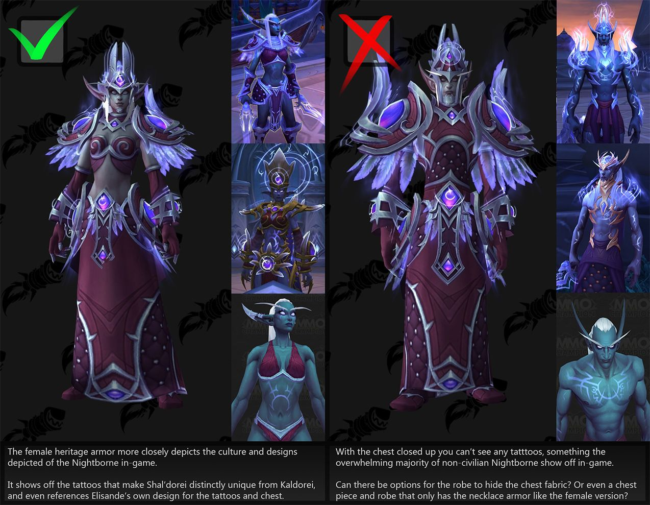 Request Can We Get Some Options For The Male Nightborne Heritage Armor Worldofwarcraft Blizzard Hearthstone Wow War World Of Warcraft Warcraft Dark Elf Really finishes the heritage armor's look. male nightborne heritage armor