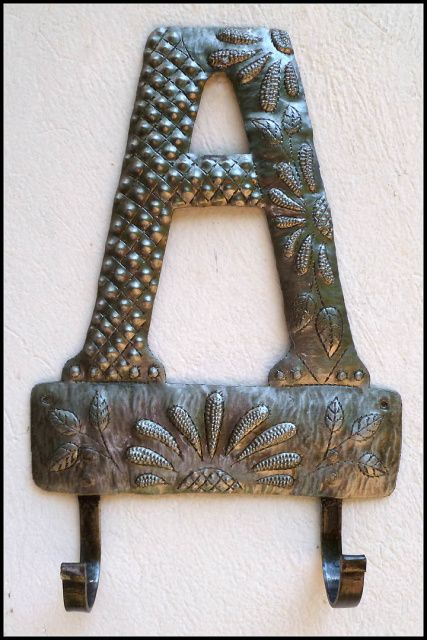 Metal Monogram Towel Hook Initial Wall Handcrafted From A Recycled Steel Drum 8 X12 1 2