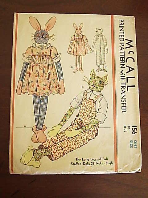 1930\'s era Long Leg Rabbit or Cat Sew Pattern dated 1933   Vintage ...