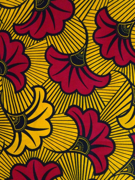 f12af53c8725 Yellow Red fabric by yards Fleur Ankara fabric for African dress African  wax Print cotton Fabric Rol