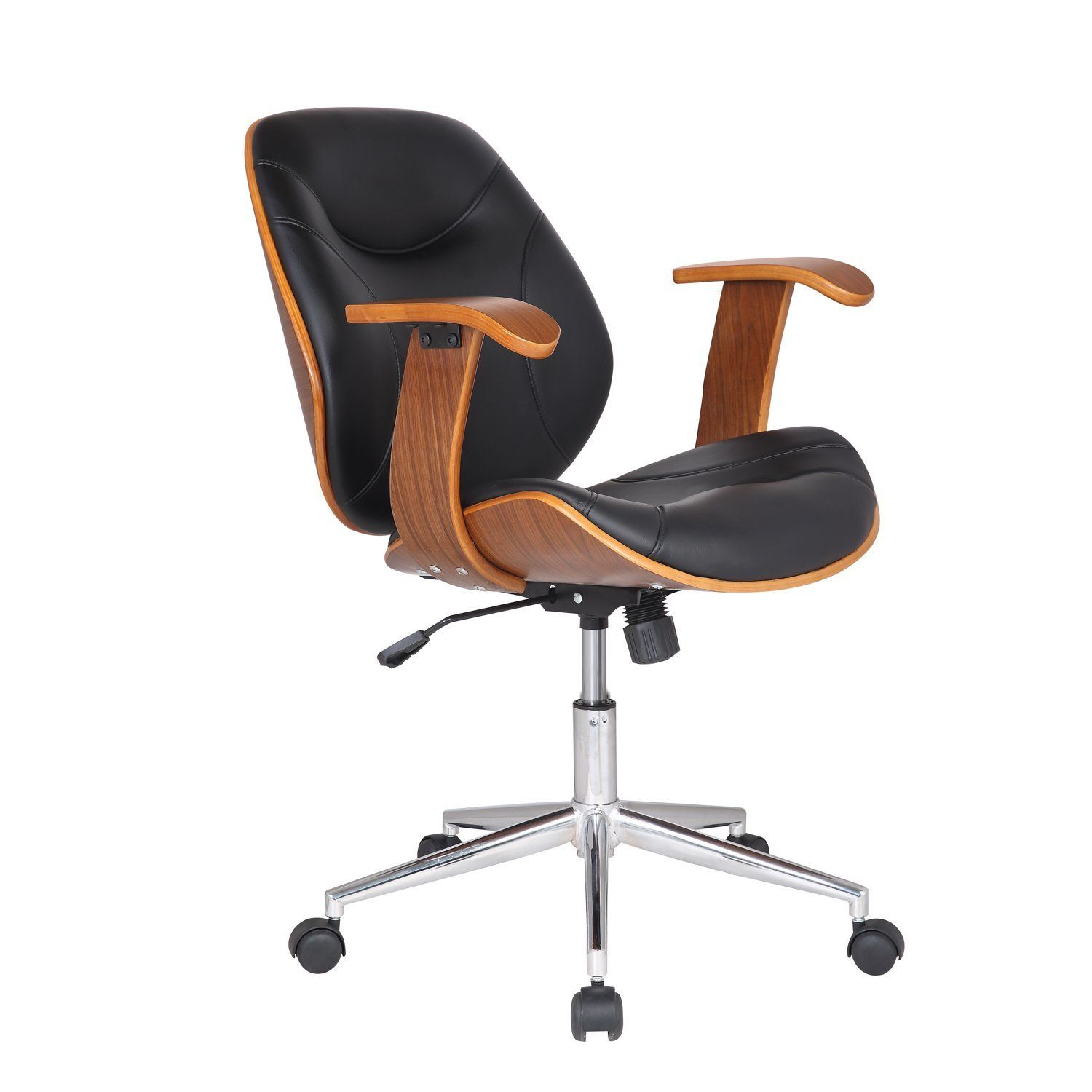 Adeco bentwood walnutcolor home office chair