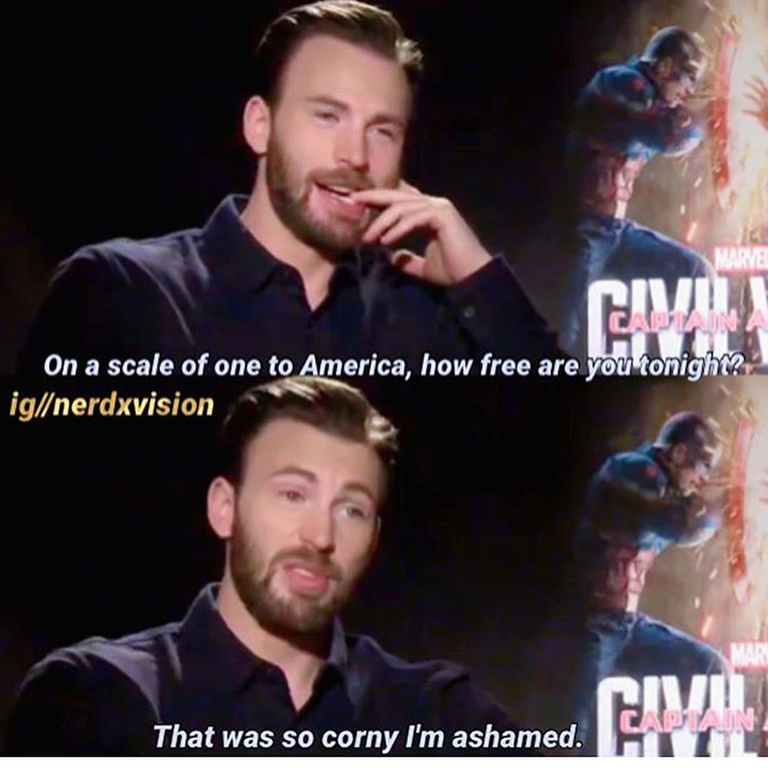 Cheesiest Pick Up Line Ever But I Would Still Go Out With Him Avengers Actors Pick Up Lines Cheesy Chris Evans Captain America