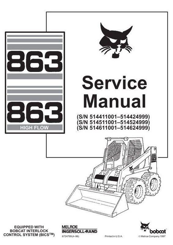 Bobcat 863, 863H Skid-Steer Loader Service Manual