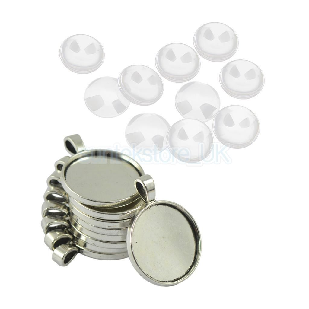 30psc Round Empty Tray Necklace Pendant Tibetan Silver DIY Jewelry Crafts
