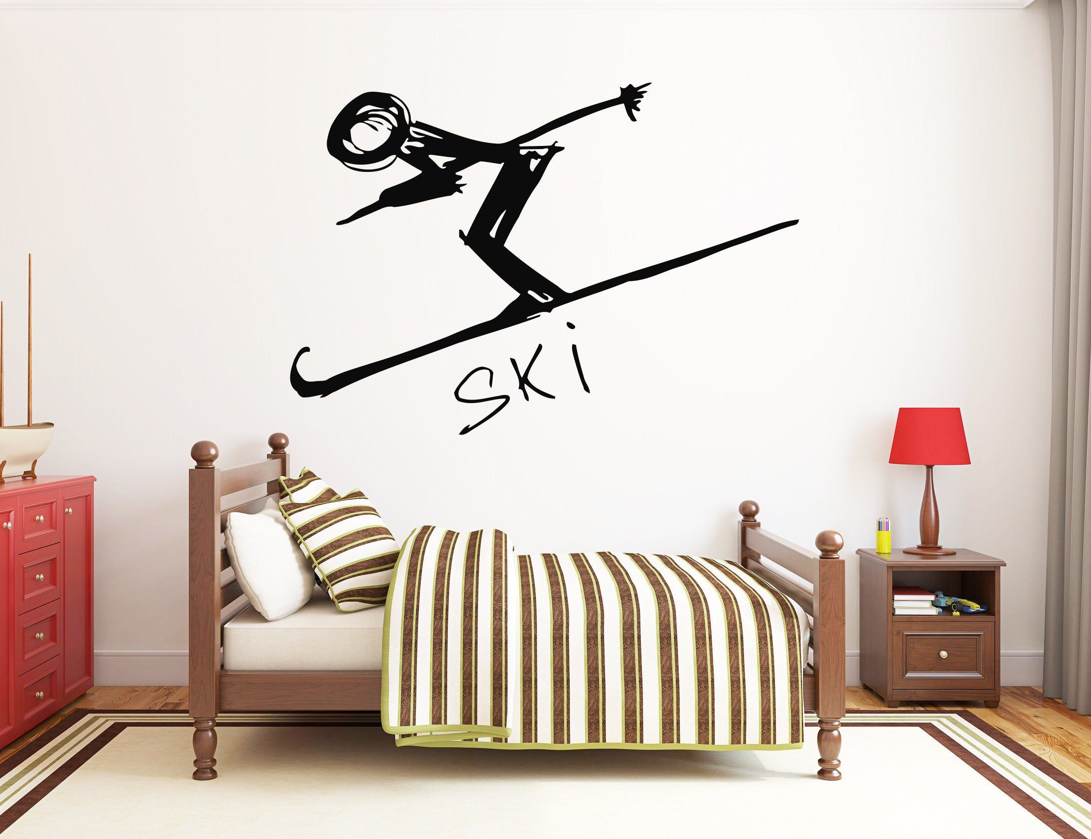 Ski Wall Decal Winter Sports Wall Decor Skiing Wall Art Skied Etsy Sports Wall Decor Sports Wall Sports Wall Decals