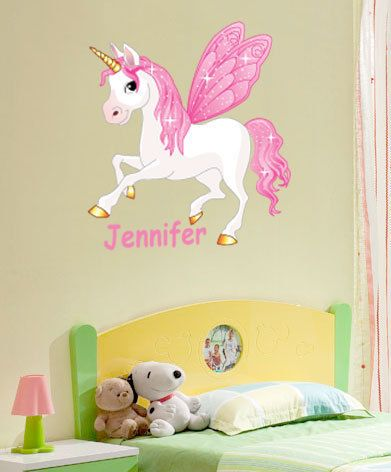 Fairy unicorn horse 24 inch tall vinyl wall sticker personalised childs name