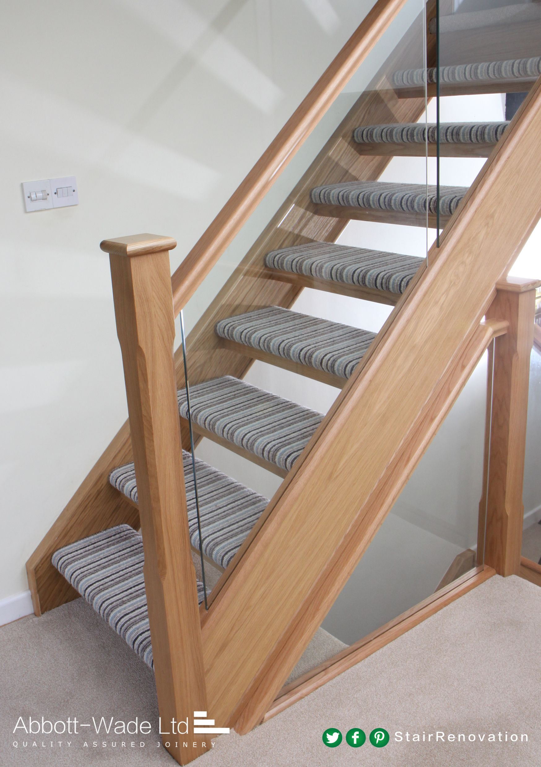 Open Tread Staircase With Striped Carpet Carpet Stairs Wooden | Fitting Carpet To Open Tread Stairs | Landing | Floating Staircase | Stairway | Hardwood | Prefinished Stair