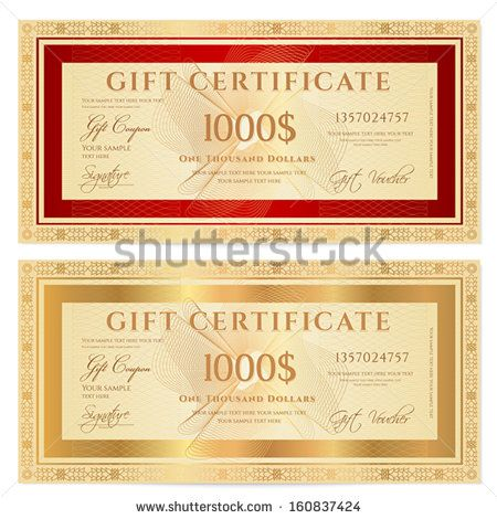 Voucher gift certificate coupon ticket template guilloche voucher gift certificate coupon ticket template guilloche pattern watermark with gold floral border red frame vector background for banknote fandeluxe Choice Image