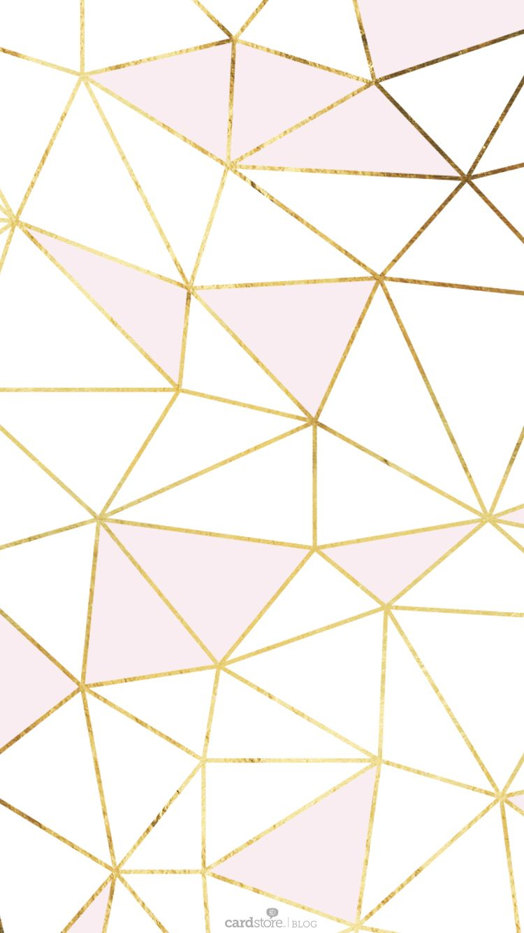 pink gold white geometric mosaic iphone phone wallpaper