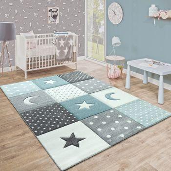 Kurzflor Kinderteppich Sterne Grau Babyzimmer farben