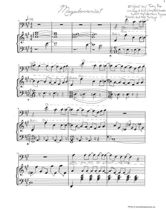 Click Image For Rest Of Sheet Music For Megalovania Cover With