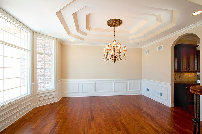 Trim, Wainscot, White, Cherry Wood Flooring · Living Room ...