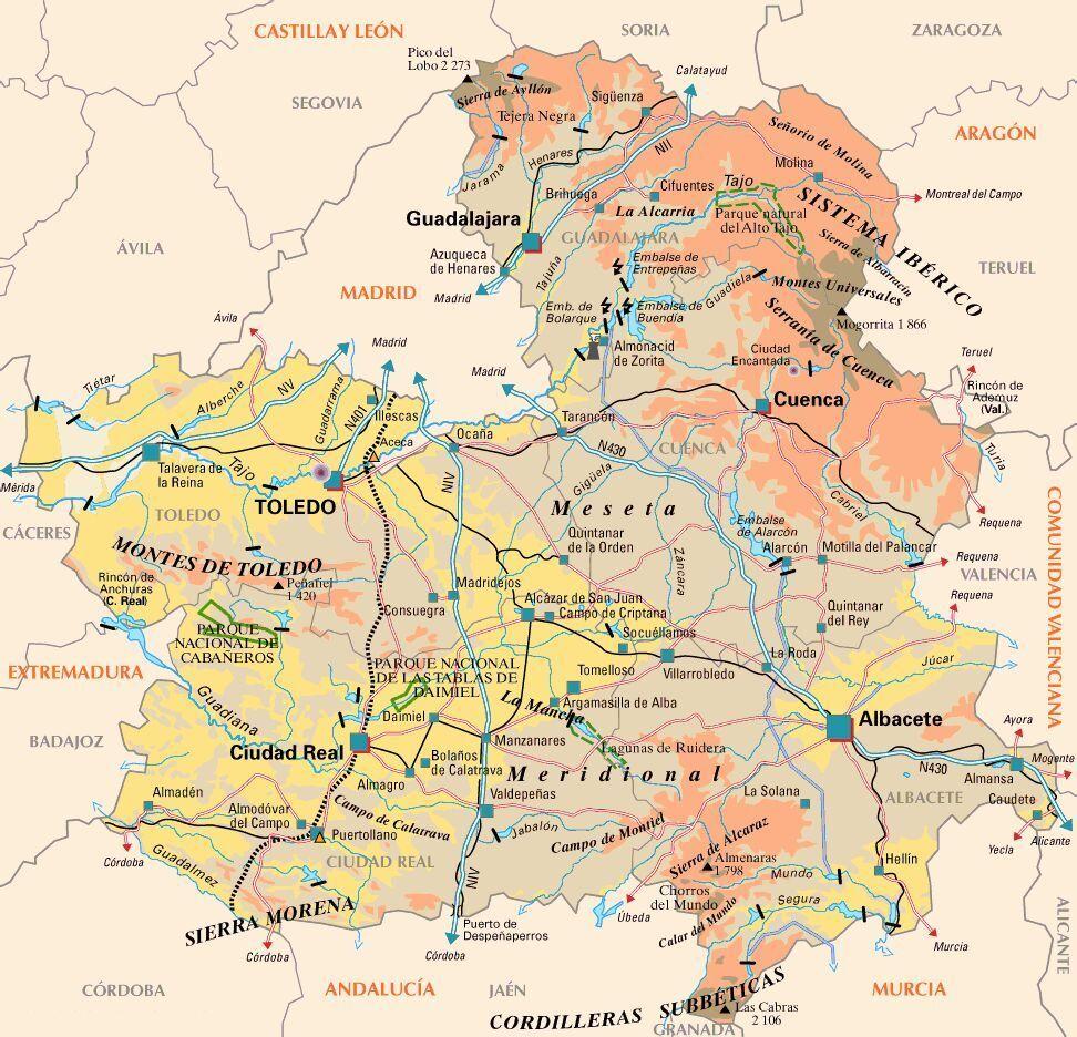 Mapa de CastillaLa Mancha Bici Pinterest