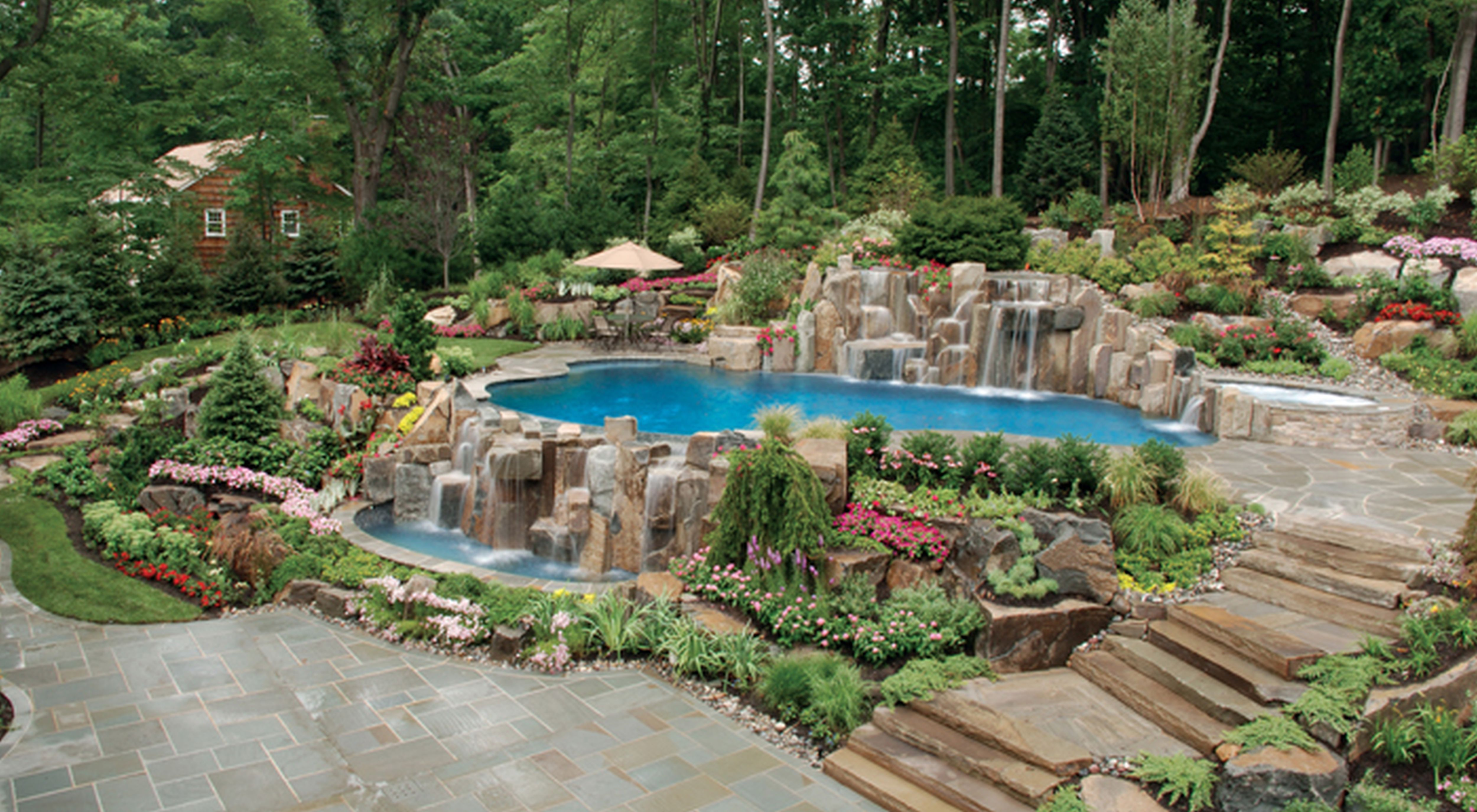 awesome amazing backyard natural infinity edge swimming pool and waterfall installation and landscaping design ideas saddle river nj enchanting backyard - Swimming Pool Landscape Designs