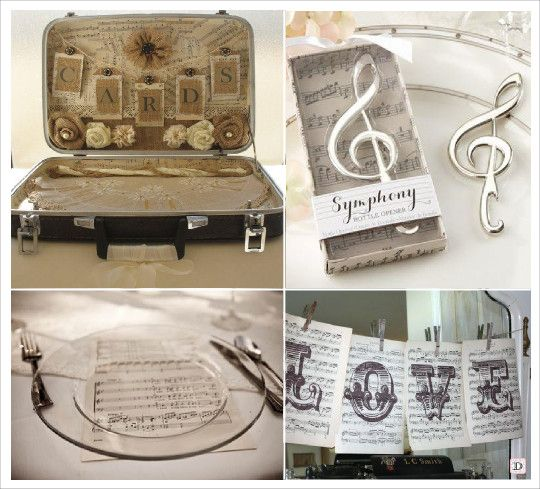 mariage musique urne valise menu partition cadeaux decapsuleur clé ...