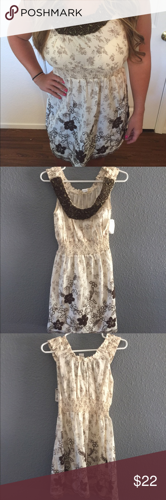 Cream beaded dress Brand new w tags Uno core Dresses Mini
