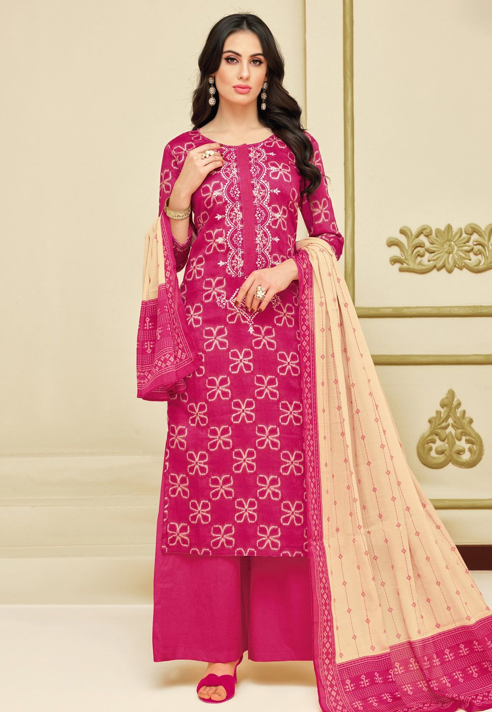 27ec95183 Buy Magenta Chanderi Palazzo Suit 154845 online at lowest price from huge  collection of salwar kameez at Indianclothstore.com.