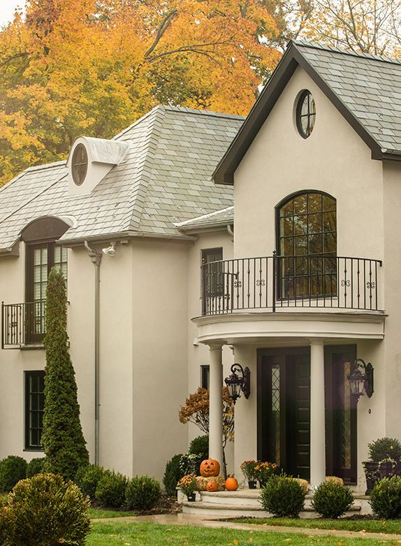 love how this roof color blends seamlessly into the home roof
