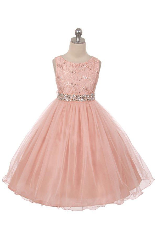 d8f3f4fa4fb9 MB_340BL - Girls Dress Style 340 - BLUSH Sparkly Tulle Dress with Beaded  Waist - Rose - Flower Girl Dresses - Flower Girl Dress For Less