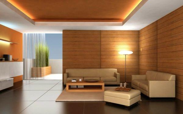 Wohnzimmer Deko Holz Wandverkleidung Panelen Sofas