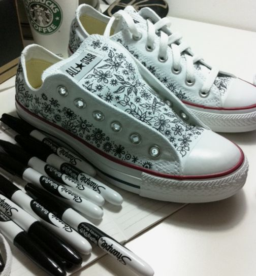 b1a2898d06af Sharpie on white shoes is my official new thing. I have to buy me a pair  and some sharpie fabric markers. Fun for those who like to be creative with  art.