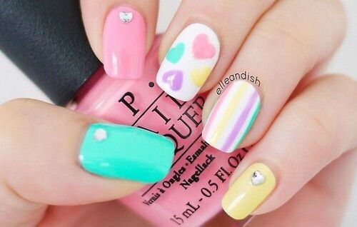Pastel Hearts Nail Art Cute Valentines Day Mani Image Via We