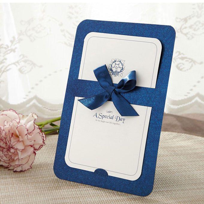Wedding Invitations Emily Post Etiquette: Blue Ribbon Layered Modern Wedding Invitations GA 1004