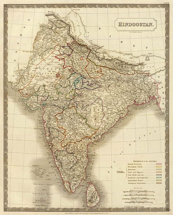 Carte De Linde Mysore.Map Of Hindostan India Old Map Reproduction India Map Fine