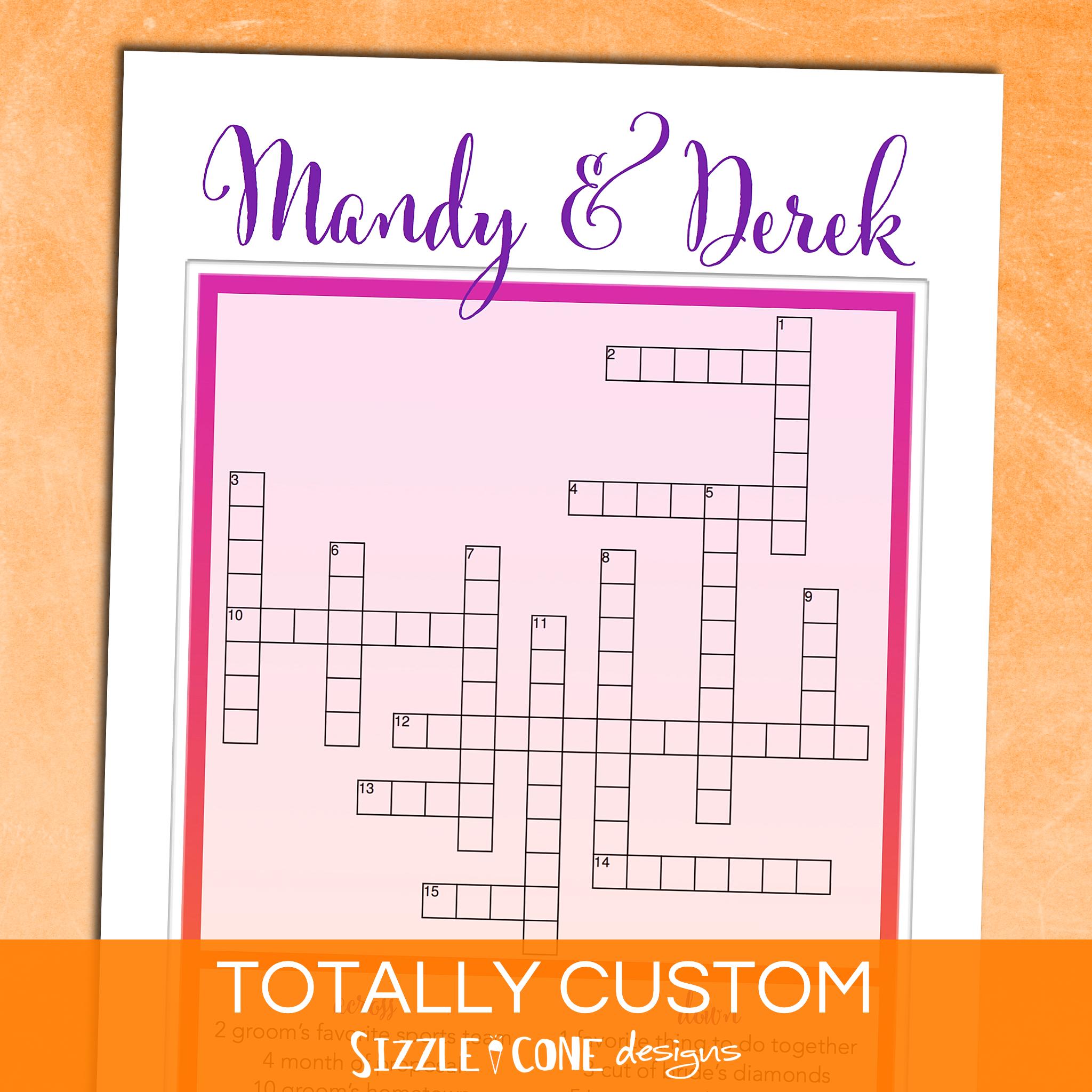 Custom Wedding Crossword Game [Printable or Printed #220 ...