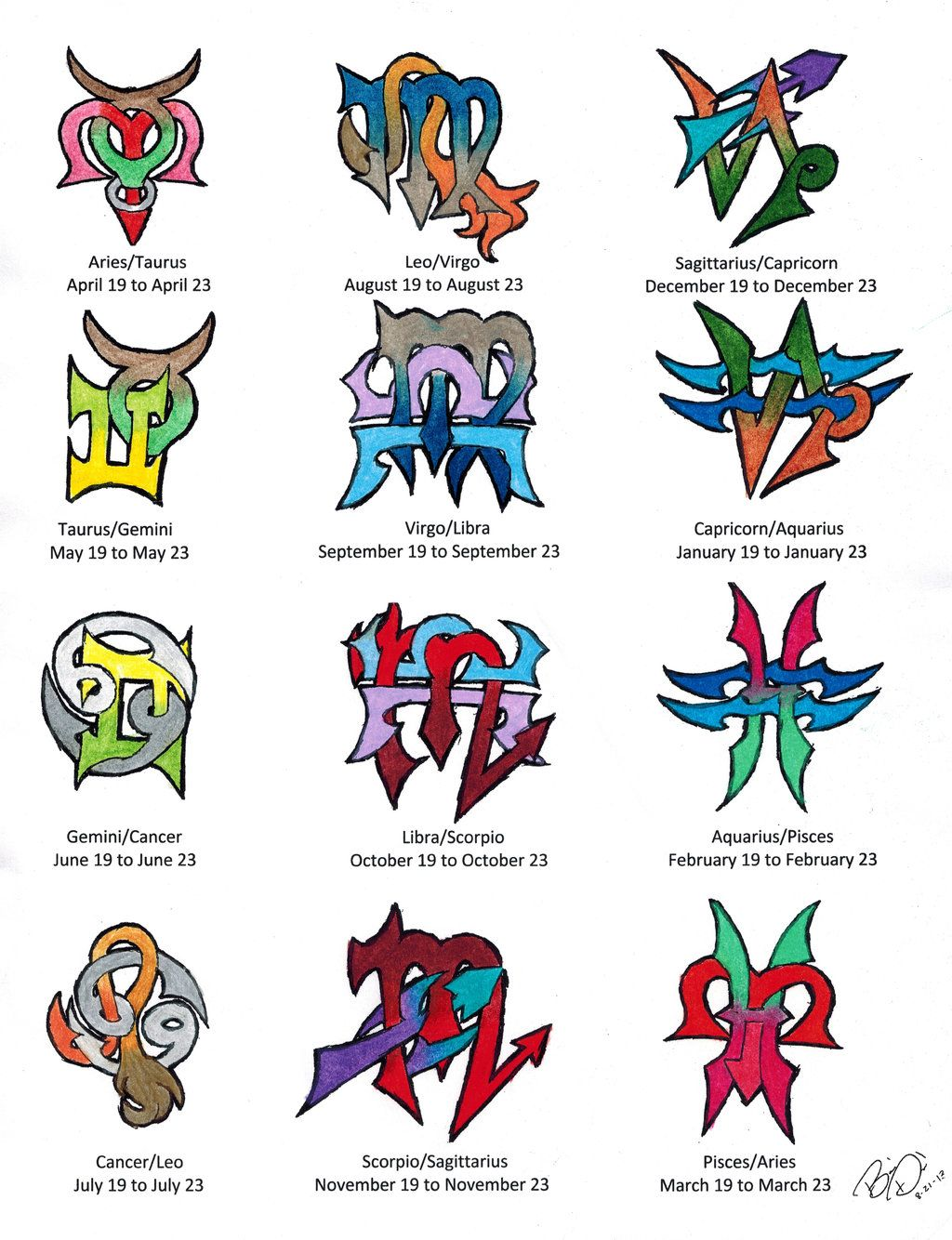 Zodiac Cusps Tattoo Designs Colored By Wolfrunner6996 On