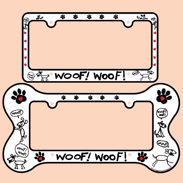 Buy Bone Shaped License Plate Frame - Woof Woof by Imagine This ...