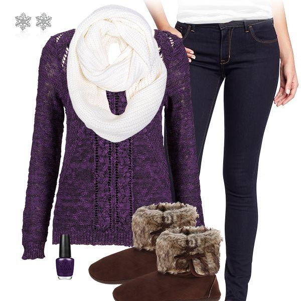 Cozy Chic Purple Sweater Outfit | Minnesota Vikings Fashion, Style ...