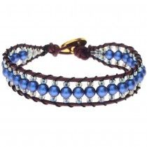 Blueberry Pie Leather Bracelet  Swarovski Iridescent Dark Blue Pearls.  Wrap Loom Style Bracelet