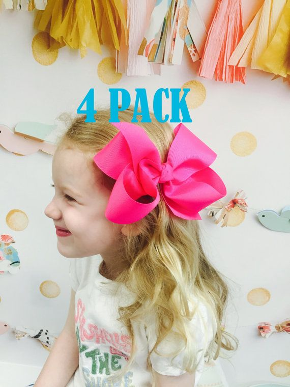 4 Pack Extra Large Hair Bows Jumbo Hair Bow 6 6 Inch By Poppybows