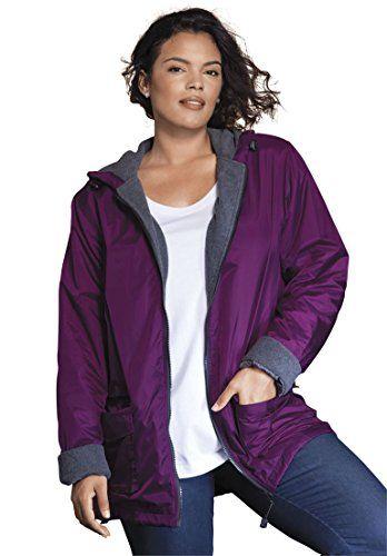 1596ac1c2bd Roamans Women s Plus Size Hooded Nylon Jacket Boysenberry
