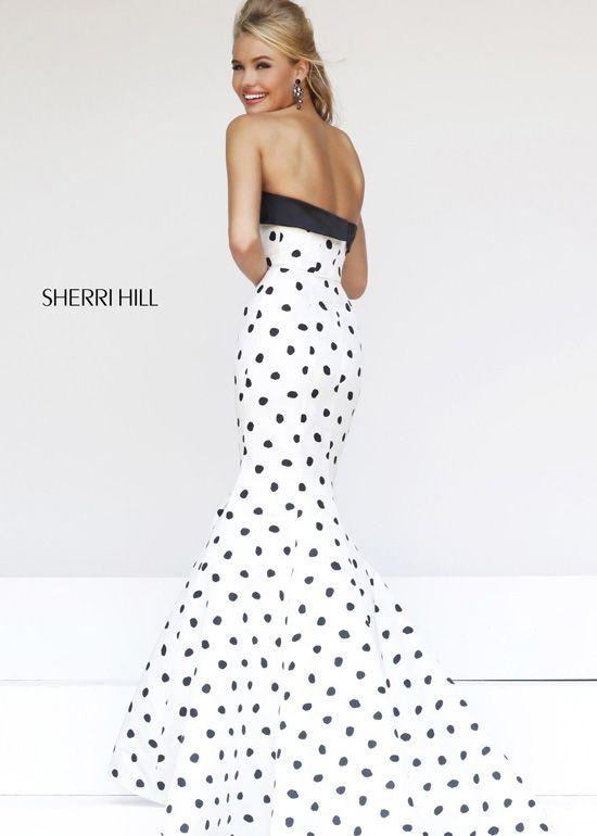 94abb3decbe Sherri Hill 21315 Strapless Black White Polka Dot Mermaid Dress ...