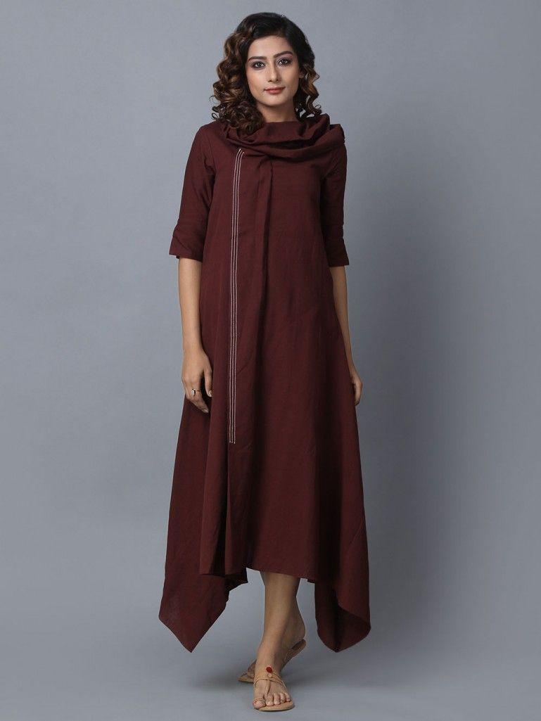 5b93392a0c8 Brown Cotton Linen Asymmetric Dress in 2019