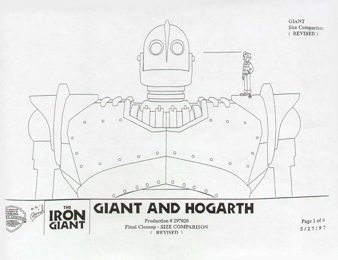 The Iron Giant 1999 Characters Size Comparison The Iron