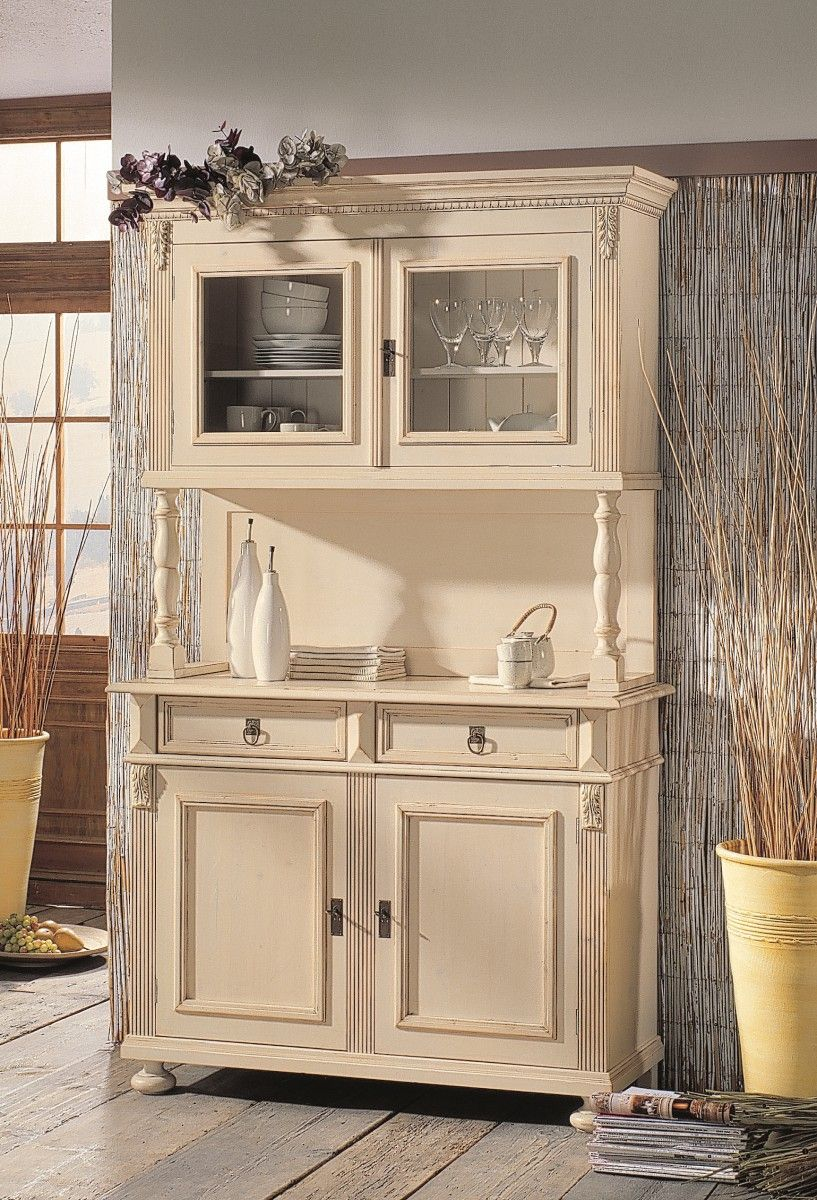 buffet vitrine vertiko schrank fichte massiv wei shabby landhaus. Black Bedroom Furniture Sets. Home Design Ideas