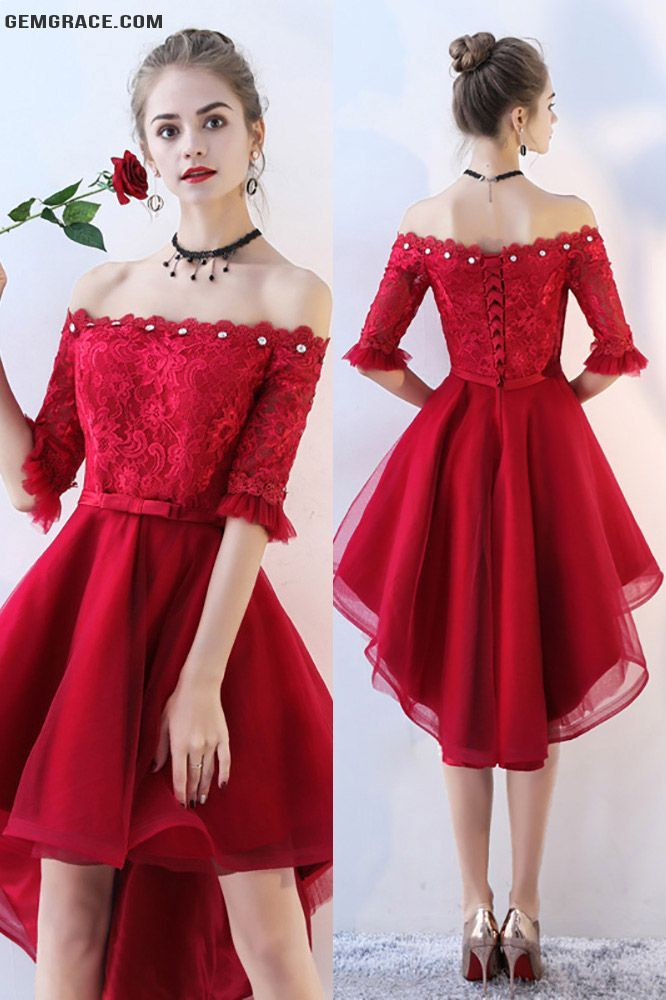 895b6a58b940 Red High Low Lace Homecoming Prom Dress Off Shoulder Sleeves ...