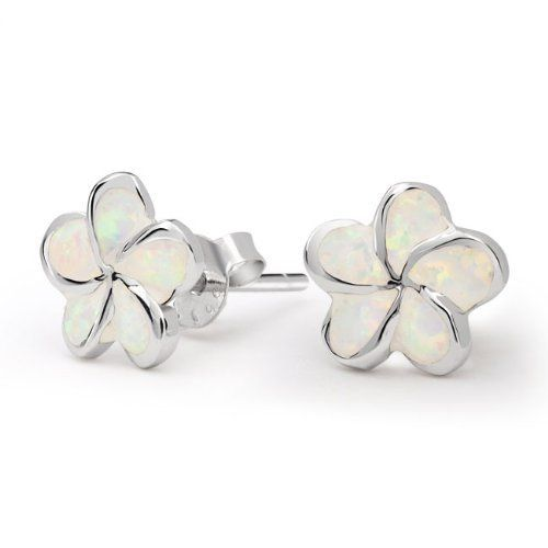 Valentines Day Gifts Bling Jewelry October Birthstone Sterling Silver White Flower Opal Stud Earrings Bling Jewelry. $39.99. Opal Stone : 5mm x 7mm. Opal Earrings. .925 Sterling Silver. October Birthstone Opal. Stud Earrings