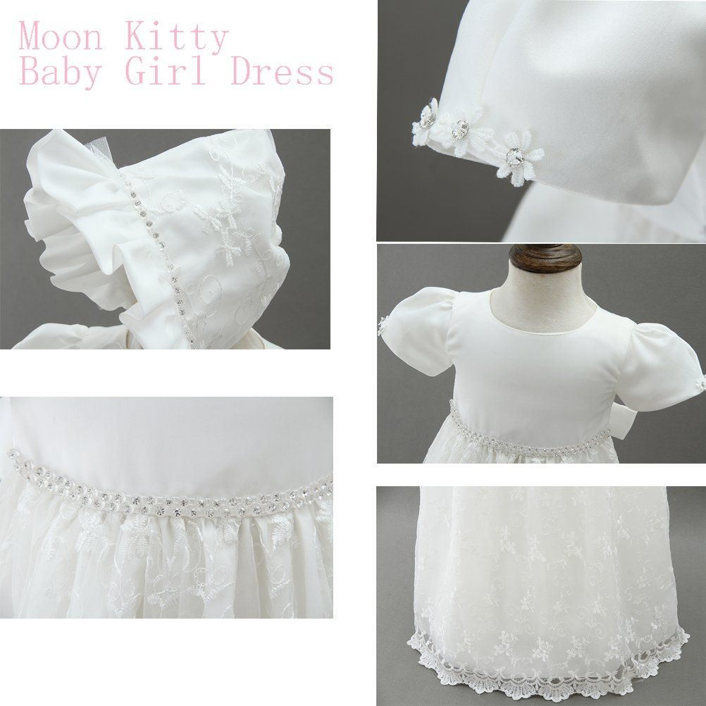 ca990f2e2b12 Moon Kitty Baby Girls 2PCS Baptism Dress Embroidery Long Christening Dresses  Satin Baptism Gowns for Baby 12 months Ivory White   Extra info might be ...