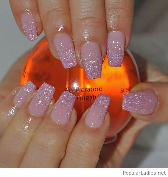 Light Pink Long Nails With Glittered Tips
