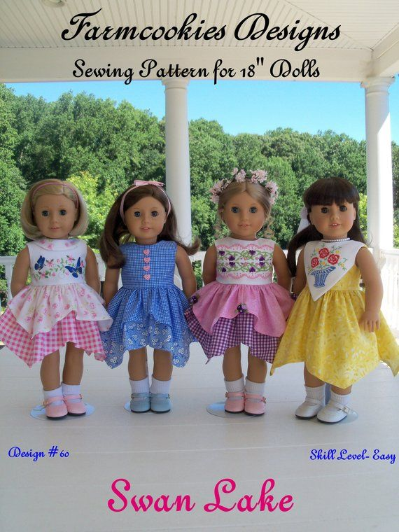 PDF SEWING PATTERN / Fits Like American Girl Doll Clothes / Swan Lake Handkerchief Dress / 18 Inch Doll Clothes Pattern #bedfalls62
